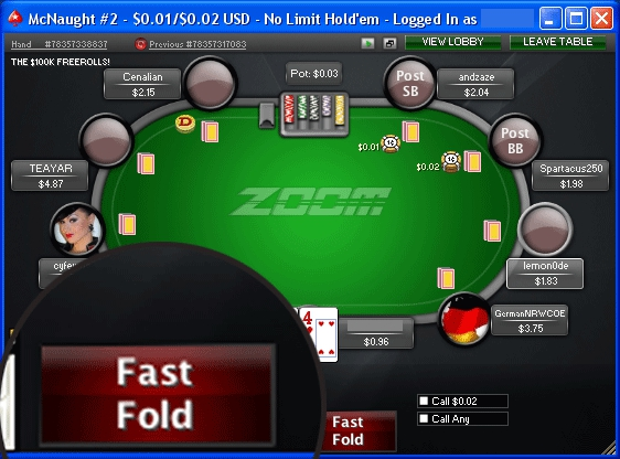 опция быстрого фолда в zoom poker