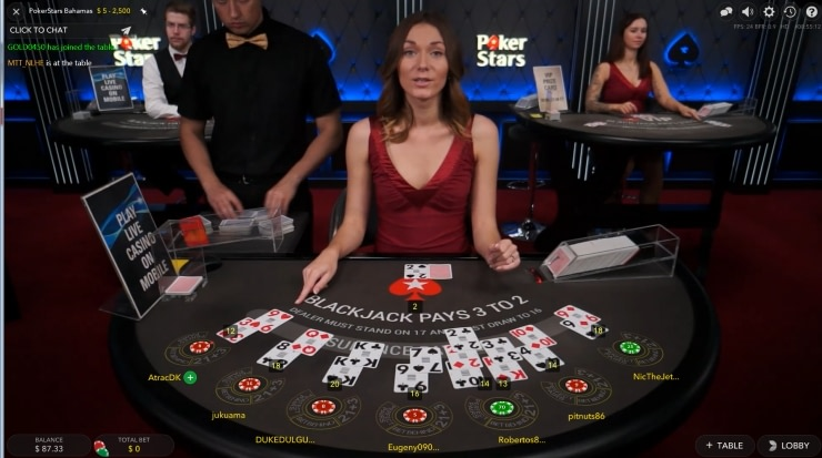 Игра в Live Blackjack на PokerStars