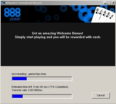 Окно, которое появляется при открытии установщика 888poker. Всё в порядке.
