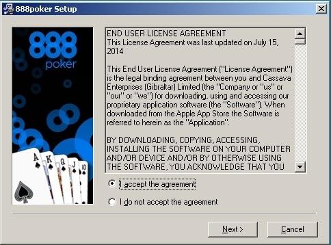 Окно с лицензионным соглашением 888poker.