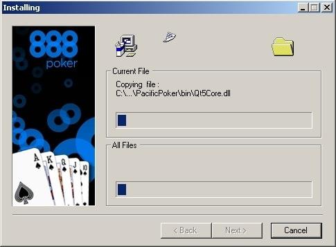 Окно установки клиента 888poker.
